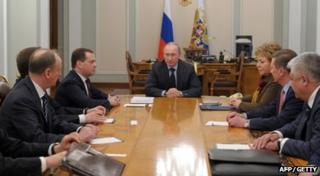 President Putin addresses Russian ministers about the situation in Ukraine and Crimea