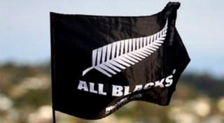 The All Blacks rugby team flag