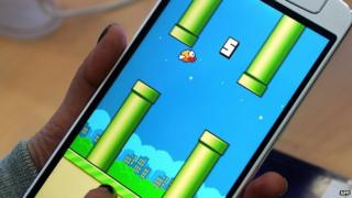Flappy Bird on a smartphone screen