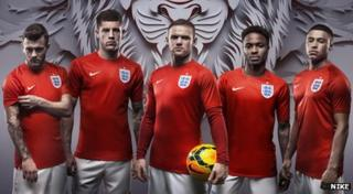 England's away kit for Brazil 2014