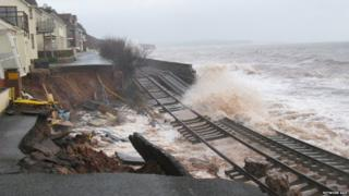 Railway line collapse at Dawlish