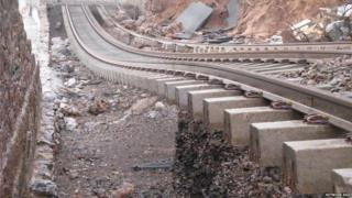 Railway line looking like a rollercoaster ride