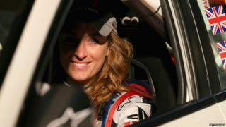 Amy Williams in a rally car