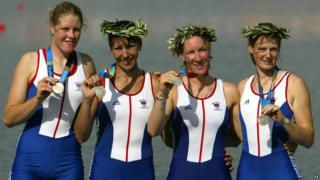 Team GB women's quadruple sculls rowing team at the Athens Olympics 2004