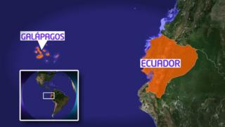 Map showing Galapagos Islands off Ecuador