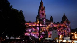 "Projections on the front of Glasgow City Chambers during Radio 1""s Big Weekend at Glasgow Green"