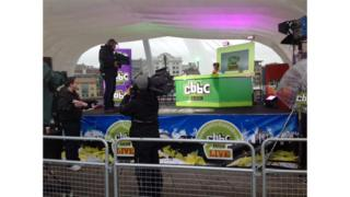 CBBC live in Newcastle Gateshead - Hacker rehearses on stage