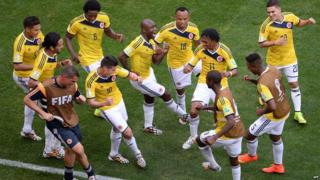 Colombia's players dancing