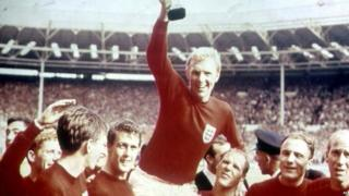 Bobby Moore, England Captain raises the World Cup trophy