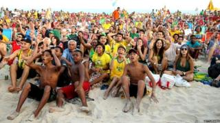 Brazilian fans gather on Copacabana Beach