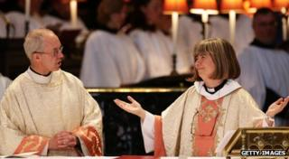 The Archbishop of Canterbury, Justin Welby, with the Reverend Canon Philippa Boardman, treasurer of St Paul's Cathedral