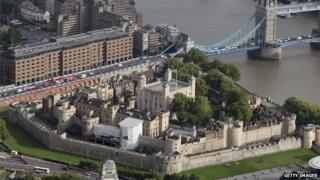 Aerial view of the Tower Of London on 5 September 2011