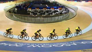 Australians cycling in Sir Chris Hoy velodrome