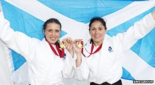Sisters Kimberley (left) and Louise Renicks won gold medals for Scotland