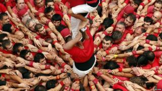 "human tower called ""castells"""