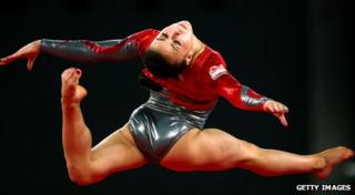 Claudia Fragapane in mid air as she jumps