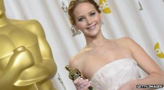 Jennifer Lawrence with Oscar