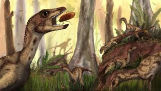 An artist's impression of the dinosaur eating a large insect