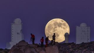 Supermoon appears over the Astro-Physical Institute of the Canaries in Tenerife