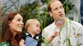 Duke and Duchesss of Cambridge with Prince George
