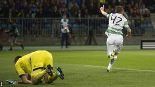 Callum McGregor celebrates after scoring for Celtic against NK Maribor