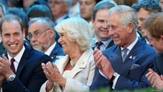 Prince William, Duke of Cambridge, Camilla, Duchess of Cornwall, Prince Charles, Prince of Wales and Prince Harry laugh during the Invictus Games Opening Ceremony