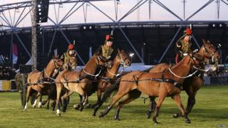 "The King""s Troop Royal Horse Artillery perform a musical ride during the opening ceremony of the Invictus Games at Olympic Park in London September"