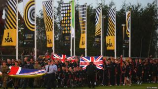 The Great Britain team enters the opening ceremony for the Invictus Games, presented by Jaguar Land Rover at Queen Elizabeth Olympic Park on September 10, 2014 in London