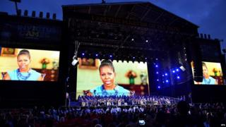 shows US First Lady Michelle Obama delivering a video message to the Invictus Games Opening Ceremony in London, Britain, 10 September