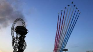 The Red Arrows fly over the opening ceremony for the Invictus Games, presented by Jaguar Land Rover at Queen Elizabeth Olympic Park on September 10