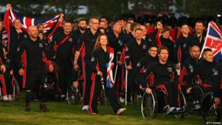 The Great Britain team enters the opening ceremony for the Invictus Games, presented by Jaguar Land Rover at Queen Elizabeth Olympic Park on September 10, 2014