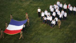 Members of the French team during the opening ceremony of the Invictus Games at the Queen Elizabeth Olympic Park, London