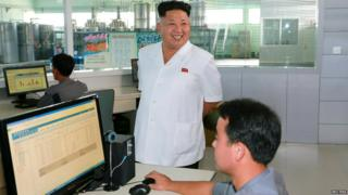 Kim Jong-un visiting a factory