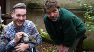 Martin meeting Nimbus the leopard cub and her keeper Jamie