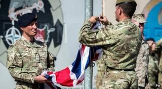 The Union flag is lowered in Afghanistan