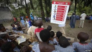 Children learning about Ebola