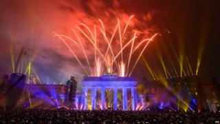 Fireworks over the Brandenburg Gate.