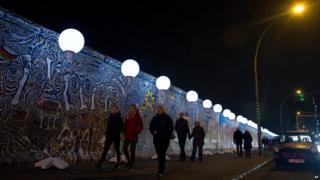 Row of illuminated balloons through Berlin