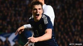 Andrew Robertson celebrates his goal for Scotland