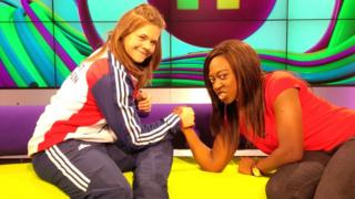 Rebekah Tiler arm wrestles Newsround's Ayshah