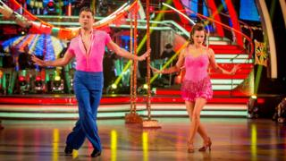 Caroline and her dancing partner on Strictly Come Dancing