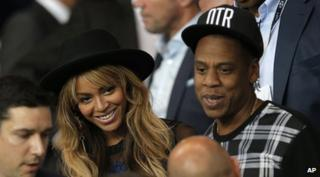Beyonce and her husband Jay Z at a football game in Paris