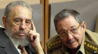Fidel Castro, left, and his brother, Raul Castro in 2004