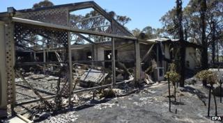 House burnt by bushfires