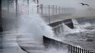 Waves crashing in Saltcoats, Scotland