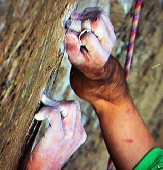 Kevin Jorgeson grips the surface of the Razor Edge during what has been called the hardest rock climb in the world