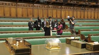 Ayshah Tull and children in the House of Commons