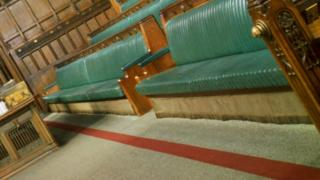 Red lines on the carpet in the House of Commons