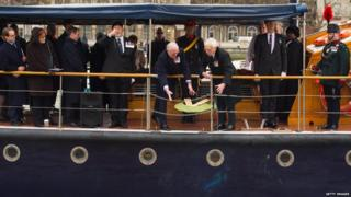 Wreath dropped into River Thames
