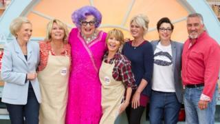 Mary Berry, Jennifer Saunders, Dame Edna Everage, Lulu, Joanna Lumley, Sue Perkins and Paul Hollywood who are taking part in the The Great Comic Relief Bake Off.